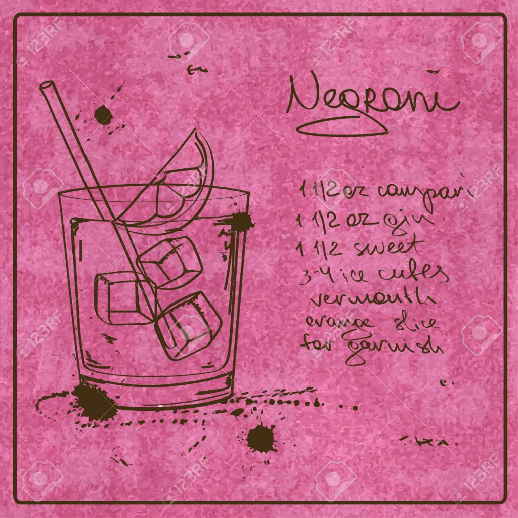Illustration with hand drawn sketch Negroni cocktail. Including recipe and ingredients on the grunge vintage background
