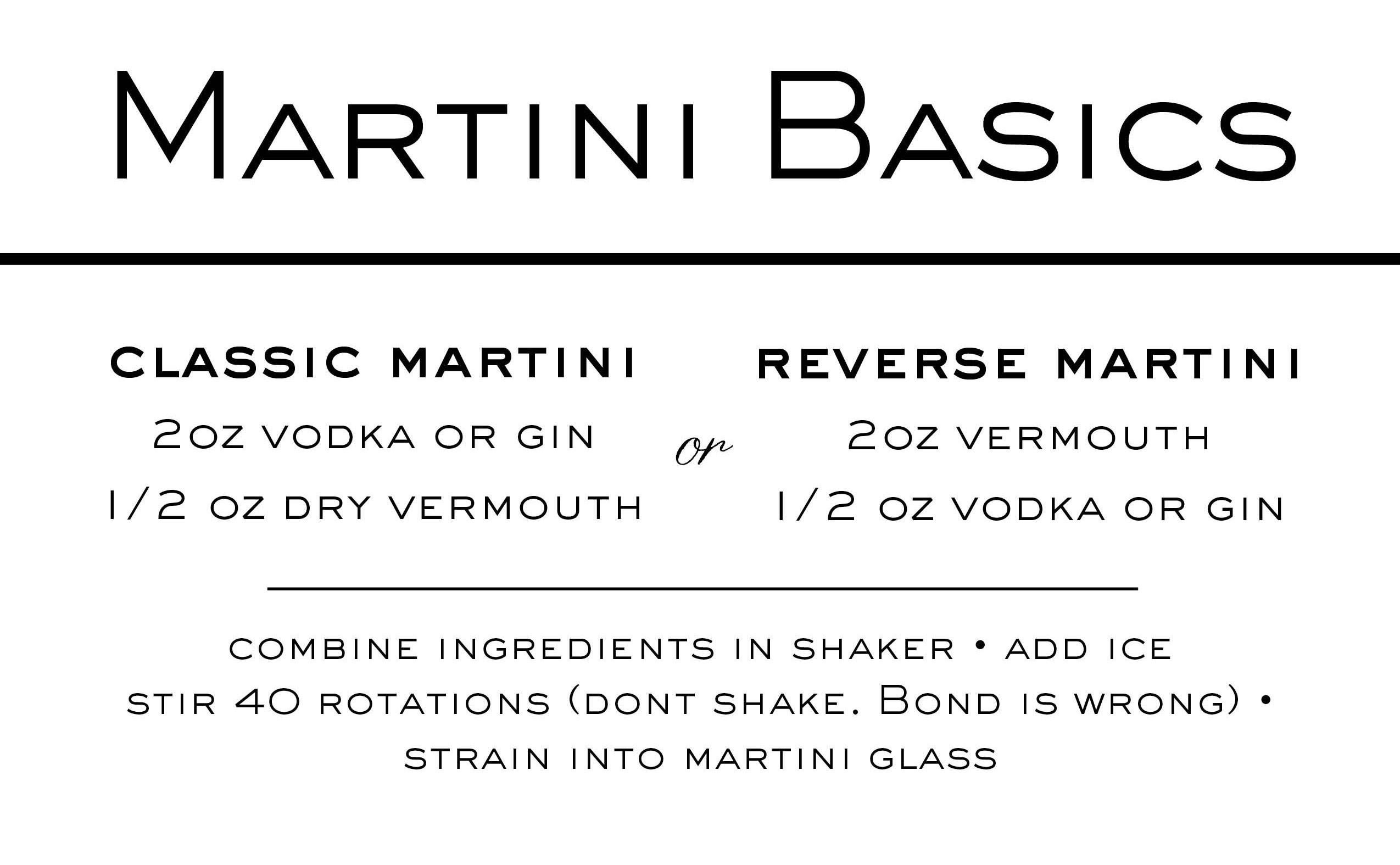 Martini Basics Tent Card