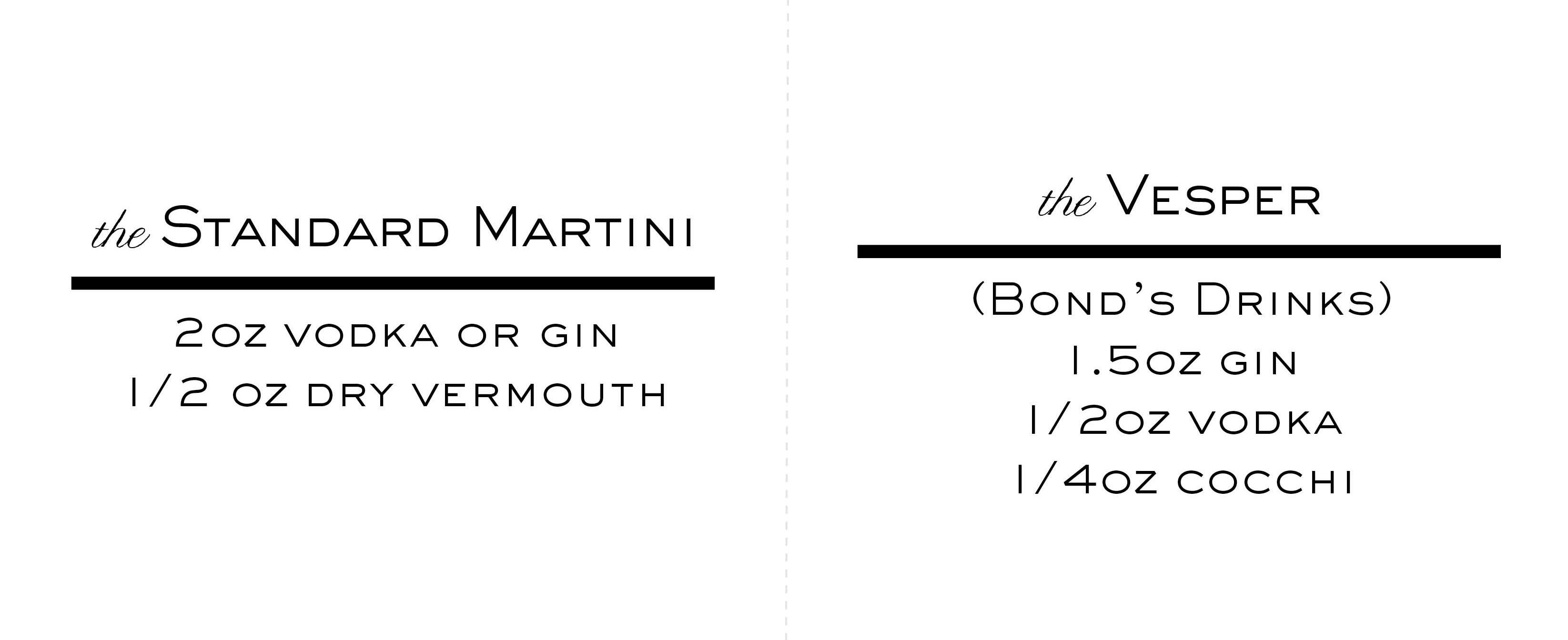 Martini Recipe Tent Cards