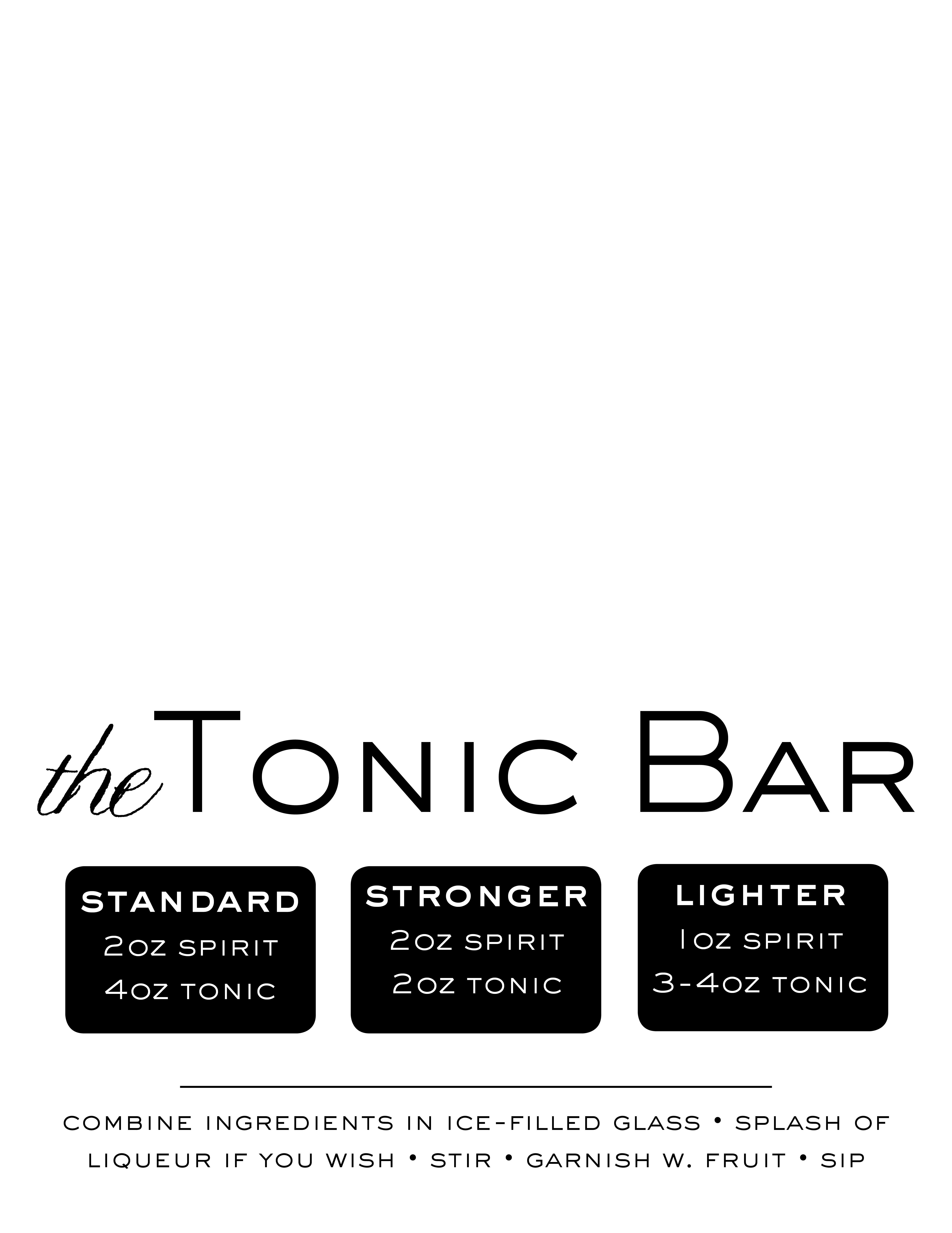 Tonic Bar Basics Tent Card